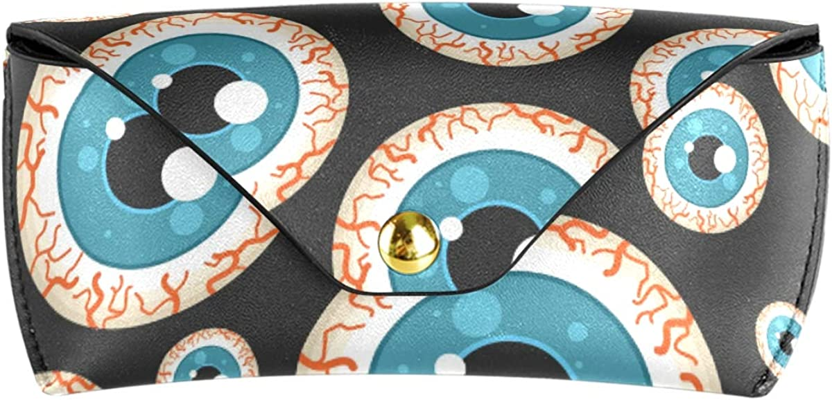 Goggles Bag Cute Angry Eyeball Multiuse Portable Sunglasses Case Eyeglasses Pouch PU Leather