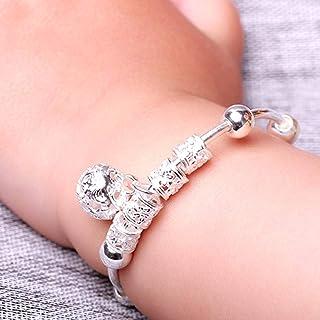 Baby Bangle,2Pcs Adjustable Infant Baby Embossing Bell Bangle Hand Bracelet Jewelry Gift