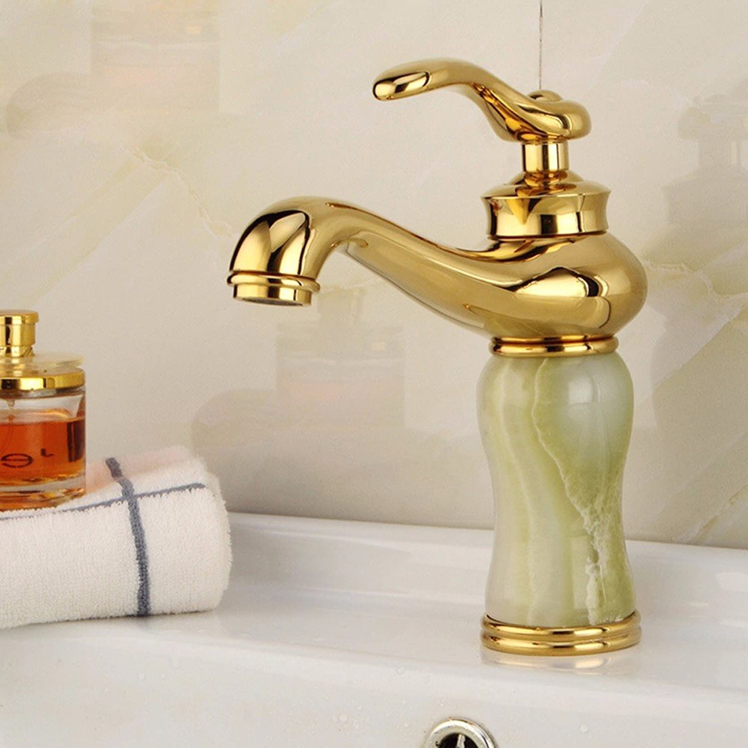 Hlluya Professional Sink Mixer Tap Kitchen Faucet The jewel of the whole copper basin faucet, lift-up gold jade Washbasin Faucet