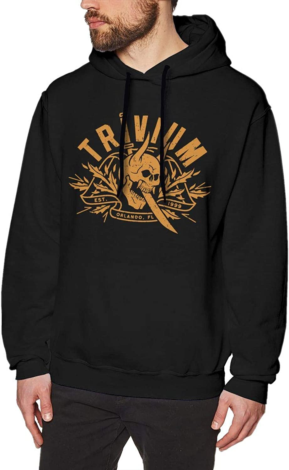 Hatpee Trivium Men Casual Hooded Sweatshirt with Drawstring Black