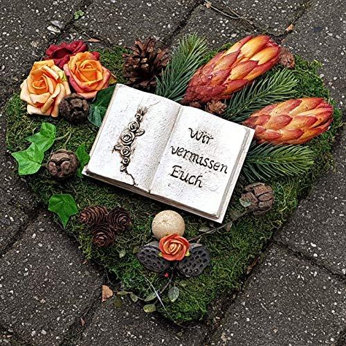 Der-kleine-Dekoladen Grabschmuck orange/rot Grabaufleger Grabgesteck Herz Buch Allerheiligen Totensonntag
