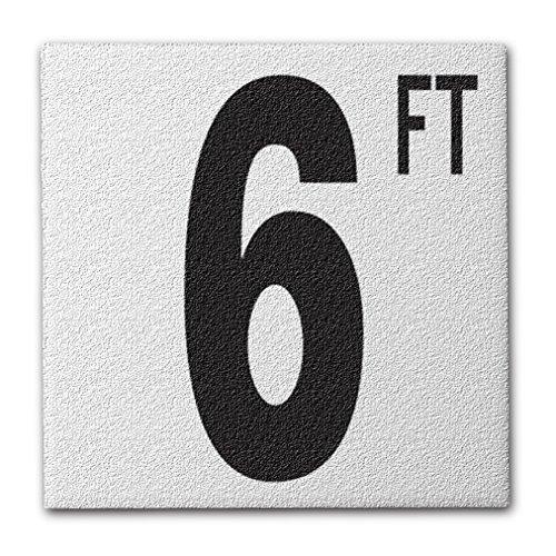 Aquatic Custom Tile Ceramic Swimming Pool Deck Depth Marker 6 FT Abrasive Non-Slip Finish, 5 inch Font