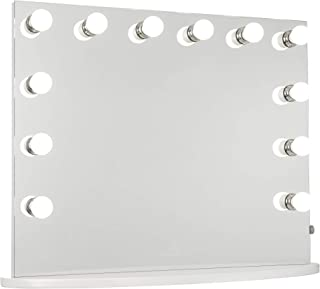 IMPRESSIONS Hollywood Premiere Slim Plus Vanity Mirror with 12 Frosted LED Lights, White Vanity Dressing with Dimmer Switc...
