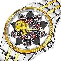 時計、機械式時計 メンズウォッチクラシックスタイルのメカニカルウォッチスケルトンステンレススチールタイムレスデザインメカニ (ゴールド)-421. デザインスターステンレス鋼