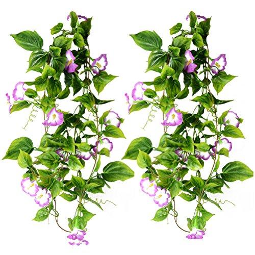 WINOMO Lot de 2 vignes artificielles à suspendre - Plantes vertes - Guirlande en soie - Pour la maison, le jardin, la clôture, les escaliers - Décoration d'extérieur pour un mariage