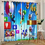 DONEECKL Cortina oscurecida para habitación Super Mario Bros insonorizada, cortina opaca con ojales superiores de 63 x 63 pulgadas