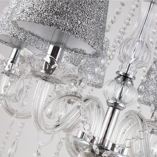TOPMAX First-Rate Crystal Chandelier Lighting with Lampshade E12 6 Lights for Interior Decoration
