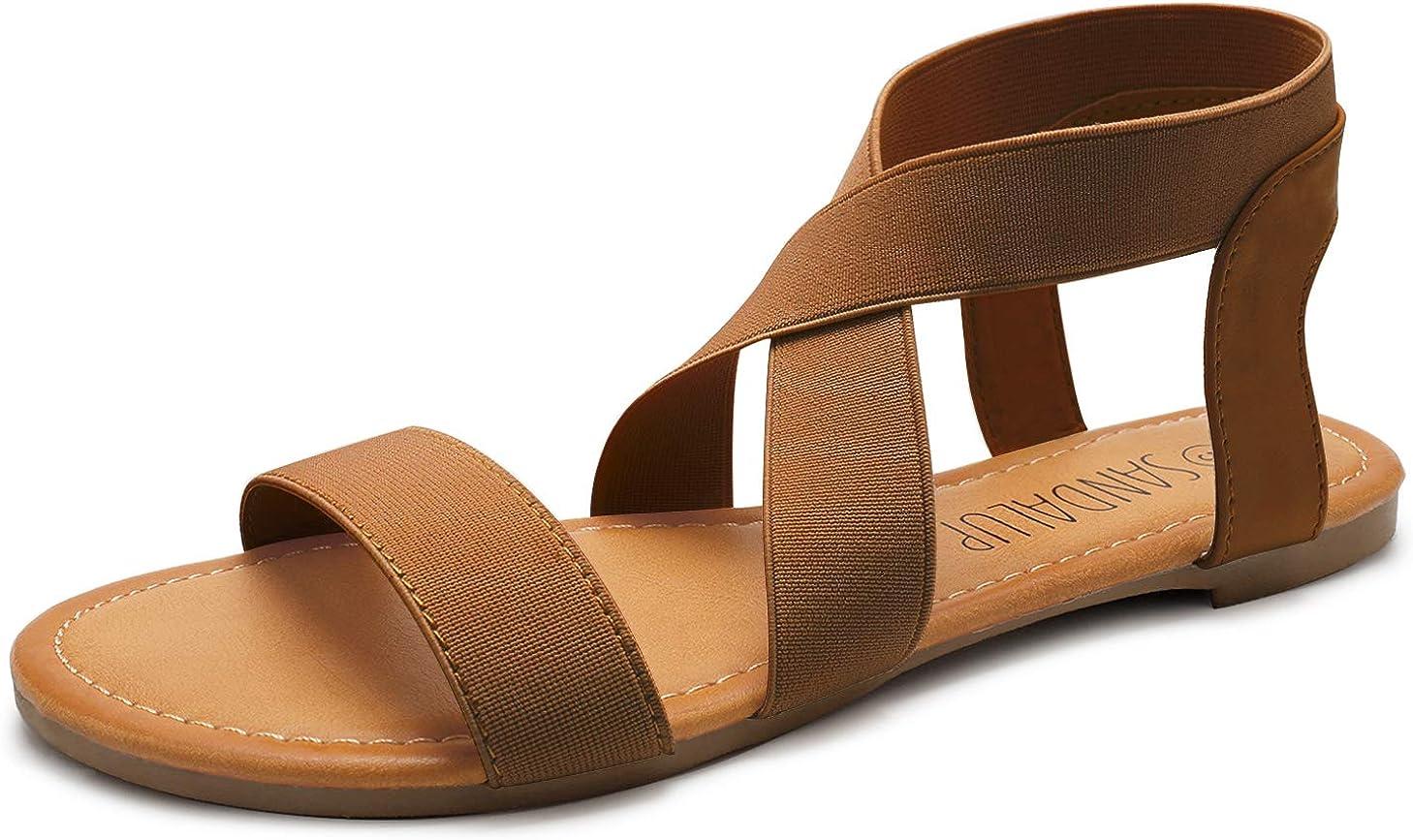 Sandalup Sandales plates confortables avec sangle de cheville /élastique pour femme