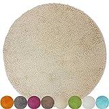 Alfombra de baño redonda de proheim (Diámetro 60 cm-1200 g/m²) - Alfombrilla de baño antideslizante y suave, Color:Beige