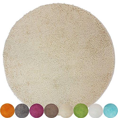 DILUMA Tapis de Bain Rond Lasalle Anti-Glissant et Douillet (diamètre 60 cm 1200 g/m²) - Absorbant et antidérapant, Couleur:Beige