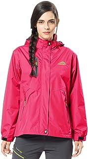 LASIUMIAT レディース 防水フード付きジャケット レインジャケット ソフトシェル ウィンドブレーカー アウトドア スポーツウェア レインコート