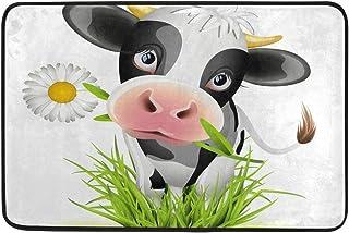 Jiayangzi Cute Holstein Cow Green Grass Front Door Mat Absorbs Doormat Anti-Slip Backing Entrance Pet Mats Welcome Hello Carpet Rug for Kitchen Bathroom Porch Laundry Living Room Home
