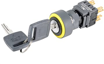 uxcell Latching Selector Key Lock Switch DPDT ON-OFF-ON 3 Position 1/0/2 16mm Mounting Diameter AC 250V 0.5A Round Head with 2 Keys