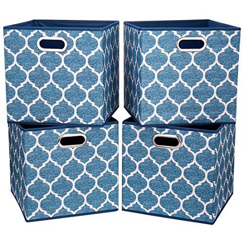 i BKGOO Grandes bacs de rangement pliables Ensemble de 4 tiroirs en tissu Cubes Organisateur de panier avec deux poignées en métal pour étagère Boîtes Bibliothèque Lanterne bleu marine 33x33x33 cm
