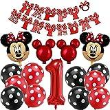 Palloncini Party Minnie, BESTZY Topolino e Minnie Forniture per Feste Minnie Festa Compleanno Kit includono Banner, Palloncini striscioni Cupcake per Feste Tema di Compleanno Baby Shower Decorazioni