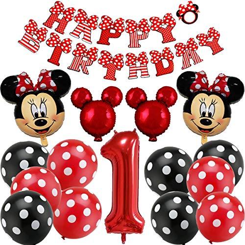 Minnie Themed Geburtstag Dekorationen, BESTZY Mickey Luftballons mit Happy Birthday Banner Folienballons Mickey 1st Birthday Luftballons für Mickey Themenparty