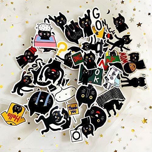 Lindo dibujo animado pequeño gato negro expresión envuelto mano cuenta cuaderno agua taza impermeable skate graffiti etiqueta 40 piezas
