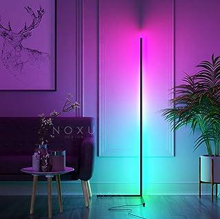 Lampara de Pie Kōnā   Lámpara de pie con Luces LED RGB   Cambia Color con Control Remoto   Tamaño: 140 cm de altura   Color Negro   Estilo Minimalista, Nordico   Lámpara de Esquina