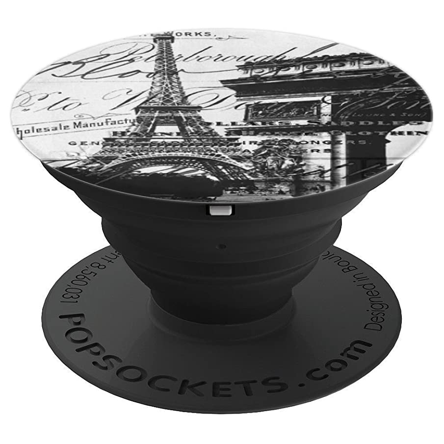 black and white french scripts vintage paris eiffel tower - PopSockets Grip and Stand for Phones and Tablets
