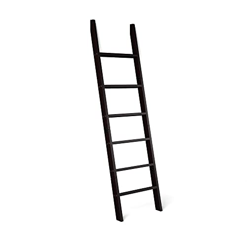 RELODECOR 6-Foot Wall Leaning Blanket Ladder  Laminate Snag Free Construction (Black)