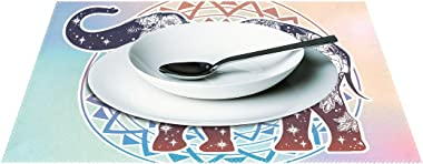 WellLee Mandala Floral Indian Elephant Placemat Set Polyester Plate Holder Table Mats for Kitchen Dining Room,12x18 Inch