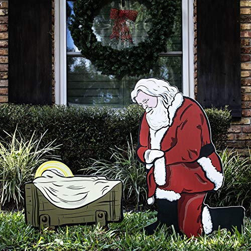 Kneeling Santa Outdoor Nativity Set | Weatherproof Santa Nativity Scene for Yards