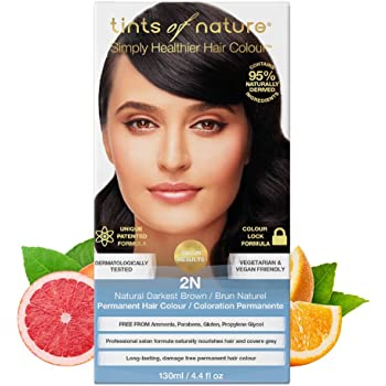 Tints of Nature 2N Natural Darkest Brown Permanent Hair Dye, 95% Natural, Free from Ammonia, Parabens, and Propylene Glycol, Single