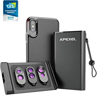 Apexel Phone Lens, 6 in 1 Dual Lens Kit -Fisheye, Telephoto, Wide-Angle, Dual Macro with Magnetic Case for iPhone X/Xs