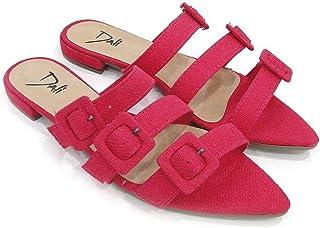 Rasteira Dali Shoes Linho e Bico Fino Com Fivelas