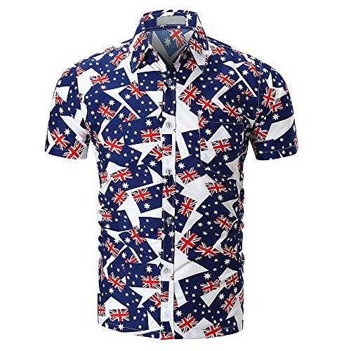 Männer Nner Herren Polo Hemd Kurzarm Gedruckt Taste Shirts Lässig Modernas Sommer Tee Sport Blusen Tunika Pullover T Shirt Oberteile Sale Oversized (Color : H, Size : M)