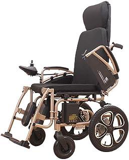 HXCD Silla eléctrica portátil con reposacabezas, sillas de Ruedas Ligeras Plegables eléctricas, Ancho del Asiento 50 cm, 360 °Palanca de Mando, batería de Iones de Litio de 250w 24v 12A, para PE