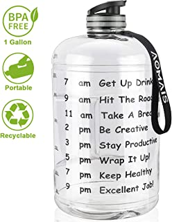 AOMAIS Gallon Water Bottle with Motivational Time Marker, Large 128 oz, Leak-Proof, Wide Mouth, BPA Free Water Bottles for Sports Gym Fitness Work