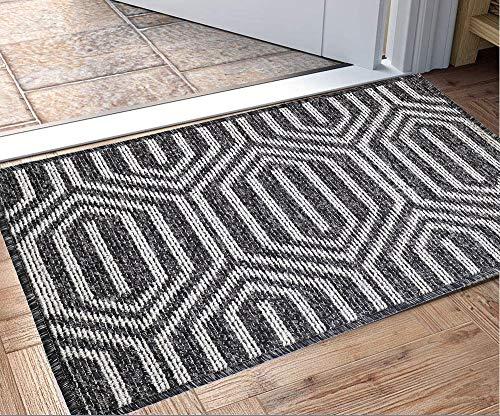 Fußmatte für den Innenbereich, rutschfester, saugfähiger Teppich mit Schmutzaufnahme, 80 x 50 cm, maschinenwaschbar, flache Innentürmatte(Schwarz)