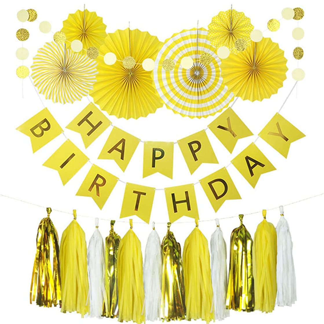 Keke's Home Creative Yellow Happy Birthday Paper Garland Wall Banner, Paper Fan Flower,Tissue Tassel Garland, Polka Dot Garland Kit, Party Decorations for Girl and Boy Birthday (Yellow)