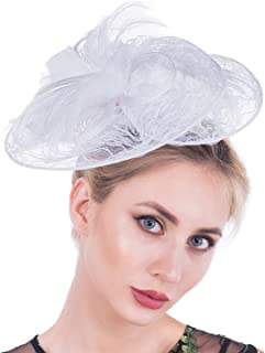 Fascinators for Women, Lace Feather Mesh Vintage Sinamay Derby Fascinator Hats with Clip and Headband for Cocktail Wedding Tea Party