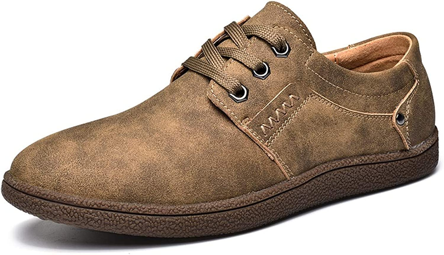 Easy Go Shopping Casual Oxford for Men Fashion Loafers Lace Up Comfortable Slip On Flats shoes Microfiber Upper Round Toe Abrasion Resistant Cricket shoes (color   Khaki, Size   8 UK)
