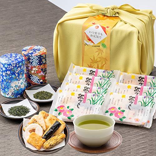 敬老の日ギフト 高級日本茶 2種 富山米100%使用 お煎餅ギフト 歌づくし せんべい お茶 ギフト 風呂敷包み 敬老の日 川本屋茶舗