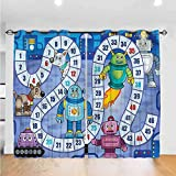 Print Blackout Curtains Board Game, Futuristic Robots Mechs Full Shading Curtains for Bedroom, Living Room, or Dining (2 Panels, W36 x L72 Inch/Panel)