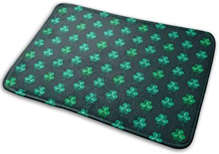 St. Patrick's Day Lucky Shamrock Green Carpet Non-Slip Welcome Front Doormat Entryway Carpet Washable Outdoor Indoor Mat R...