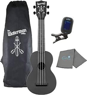 Kala Black Soprano Waterman Ukulele KA-SWB-BK Bundle with a Kala Tuner and Lumintrail Cleaning Cloth