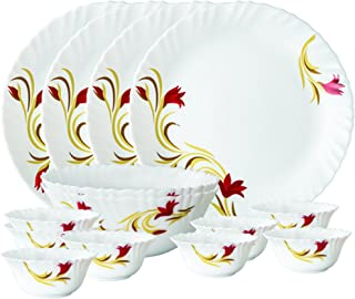 Larah By Borosil Red Lily Opalware Dinner Set, 14-Pieces, White