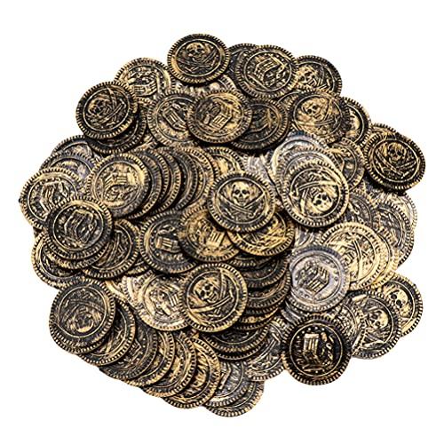 TOYANDONA 100 Piezas Monedas de Pirata Moneda de Caza del Tesoro Doblones de España para Juegos de Mesa Fichas Pirata Tesoro Cofre de Escritorio Juego de Juguete