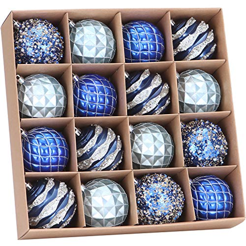 Sea Team 80mm/3.15' Delicate Contrast Color Theme Painting & Glittering Christmas Tree Pendants Decorative Hanging Christmas Baubles Balls Ornaments Set - 16 Pieces (Royal Blue)
