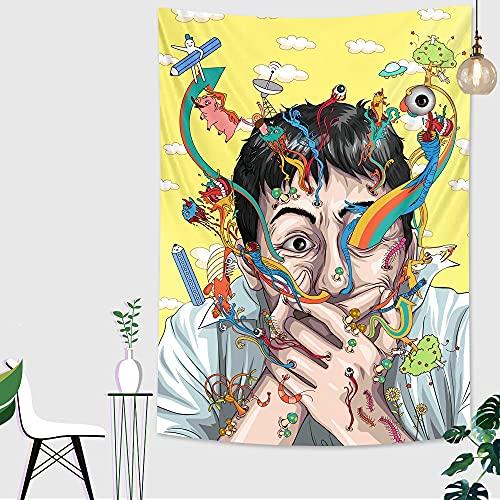 Fondo hippie tapiz de tela manta colorida bohemia manta colgante de pared fondo psicodélico tapiz de tela A5 180X200CM