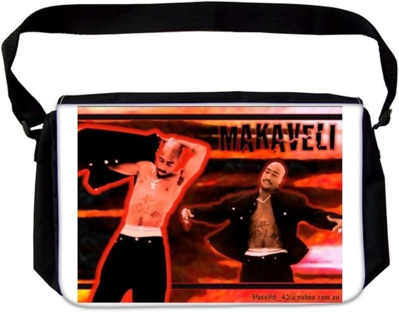 Marvellous 2Pac Tupac Shakur Makaveli Thug Life Double Image Fire Affect Background Hip Hop RapLaptop School Bag Business Bag Casual Daypack Multiple Pockets Unisex for Men & Women