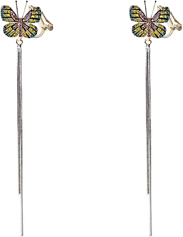 Charm Butterfly Clip on Earrings Long Dangle Tassel Colorful Crystal non Pierced for Women Girl Birthday
