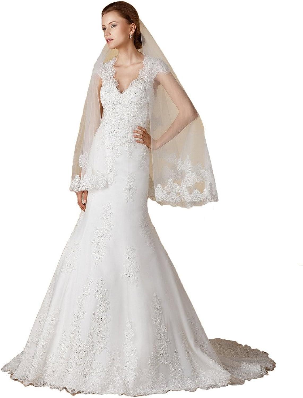 BessWedding Cap Sleeves Lace Wedding Dresses 2016 Backless Mermaid Bridal Gowns