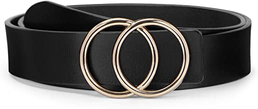O ring Golden Buckle Fashion Women Leather Belts for Pants Jeans, Plus Size Waist Ladies Designer Belts by WERFORU