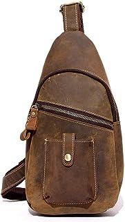 Men's Chest Bag Leather, Messenger Bag Shoulder Bag Sling Bag Retro Business Bag (Color : Black, Size : M)