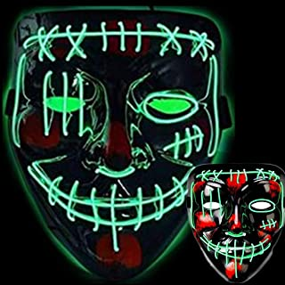 Halloween Led Light Up Clown Mask, Scary LED Flash Mask, Creepy Cosplay Costume Party Pros